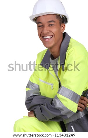 A young traffic guard - stock photo