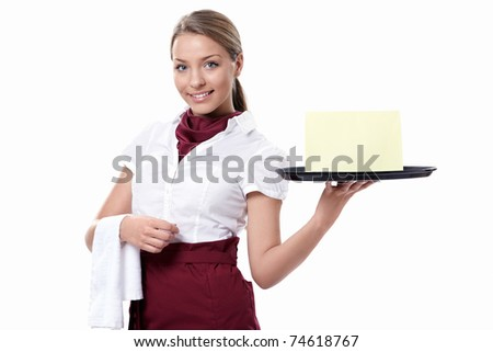 A young waitress with a tray on a white background