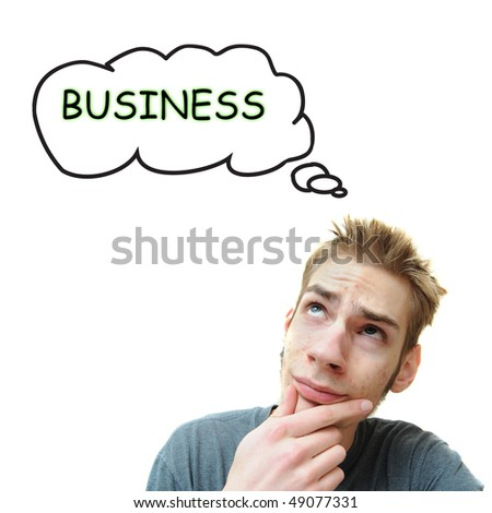 A young white male adult thinks he should start a business. Isolated on white background.