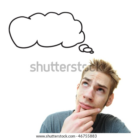A young white male adult thinks in his think bubble caption. Isolated on white background. - stock photo
