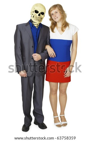 A young woman and a skeleton in a suit isolated on white background - stock photo