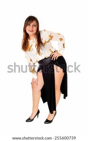 A young woman, bending down, standing isolated for white background