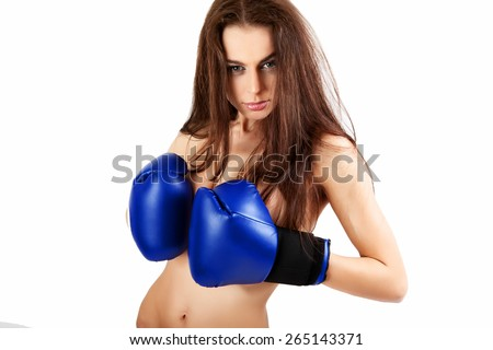 A young woman boxer. - stock photo