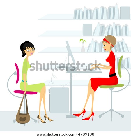 A young woman gets a job interview (vector file is also in gallery) - stock photo