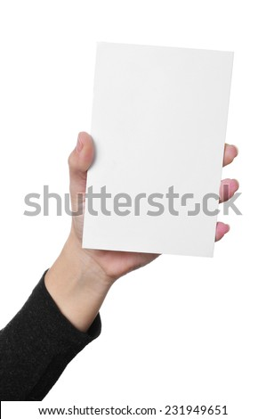 a young woman hand showing a blank signboard with a copy-space - stock photo