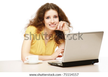 A young woman having a break - stock photo