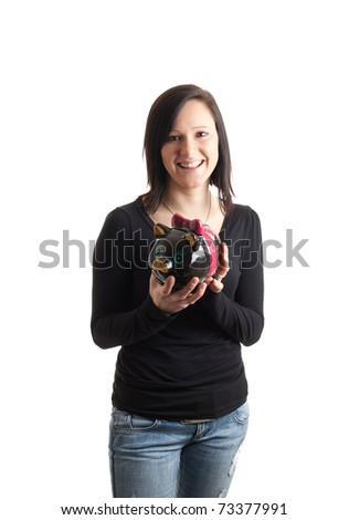 a young woman holding a piggy bank isolated on white - stock photo