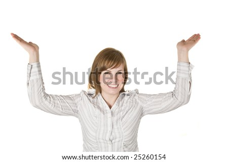 A young woman holding her hands above her head - stock photo