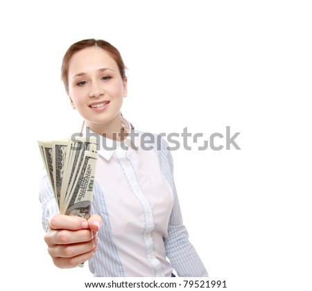 A young woman holding money, isolated on white - stock photo
