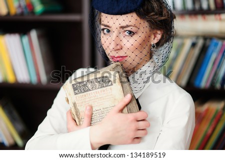 A young woman in the library
