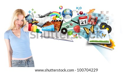 A young woman is holding a smart phone with different technology photos, icons and symbols coming out on a white background. - stock photo