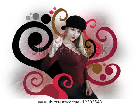 A young woman is painting red and black swirls of art. She is blond and wearing a black hat. - stock photo