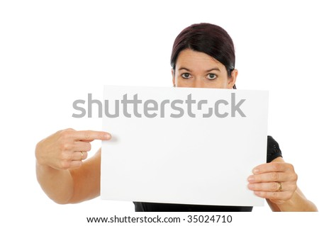 A young woman is showing a piece of paper