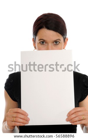 A young woman is showing a piece of paper - stock photo