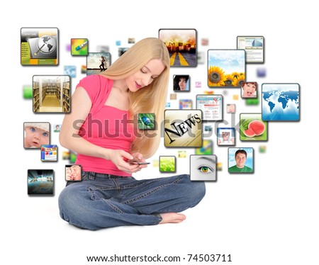 A young woman is texting on a phone with different photos coming out on a white background. - stock photo