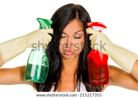 a young woman is unhappy must accept the housecleaning - stock photo