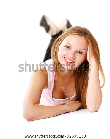 A young woman lying on the floor ,isolated on white background