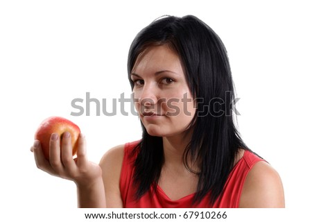 a young woman maybe does not like this apple