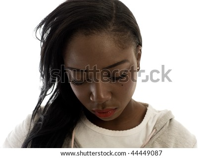 A young woman, photographed the studio, on white background. - stock photo