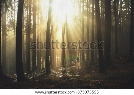 A young woman playing the violin in a magical forest at sunrise