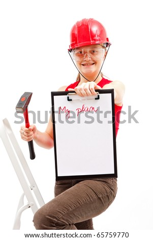 A young woman preparing to work, showing her improvement plan. - stock photo