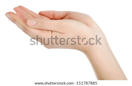A young woman's hand, palm open.White background. - stock photo