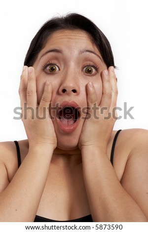 a young woman screaming over a white background