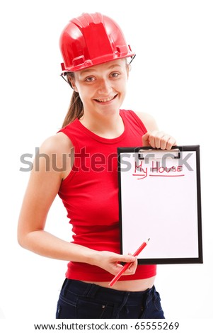 A young woman showing her improvement plans related to her house. - stock photo
