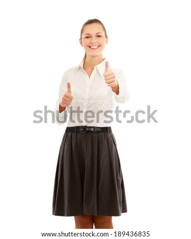 A young woman showing ok , isolated on white background