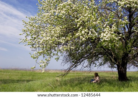 A young woman sitting in the shade of a flowering cherry tree - stock photo