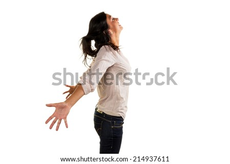 a young woman takes a deep breath and enjoy life - stock photo