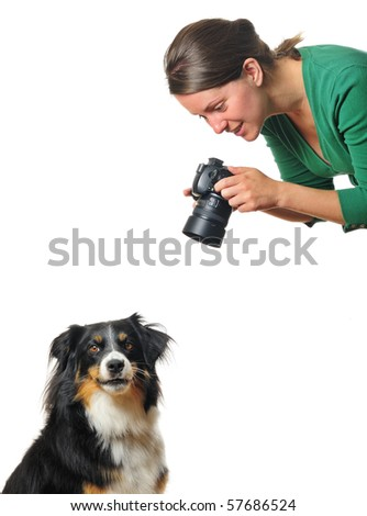 A young woman taking photographs of a bored dog, isolated on white. Space for text.