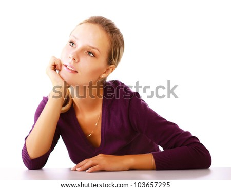 A young woman thinking isolated on white background - stock photo