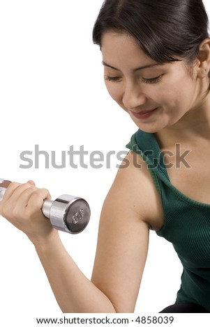 a young woman using weights over a white background
