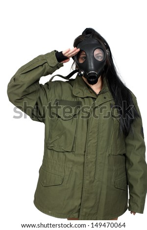 A young woman wearing a gas mask and a military olive-drab jacket.  Isolated on a white background.
