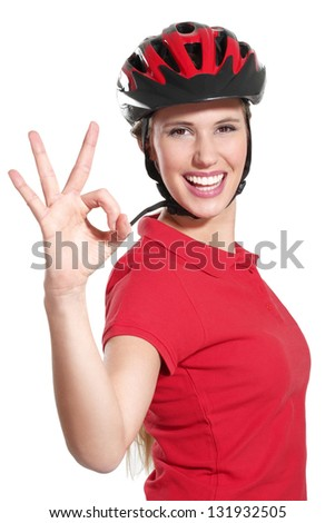 a young woman with a bike helmet on white - stock photo
