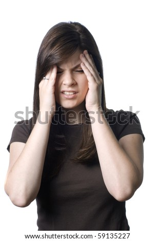 A young woman with a painful headache or migrane. - stock photo