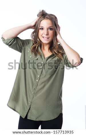 A young woman with funny expression. I am crazy - stock photo