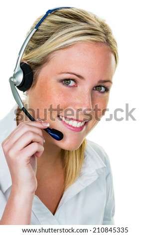 a young woman with headset.symbolfoto for hotline, customer contact and telephone exchange.