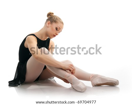 a young wonderful ballerina isolated on white - stock photo