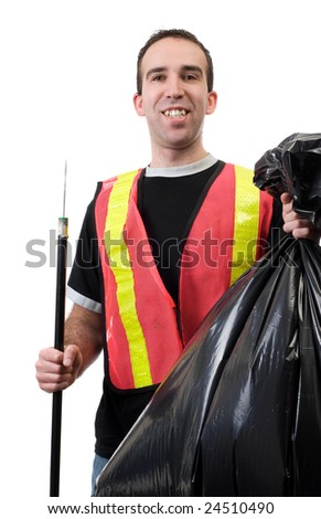 A young worker picking up garbage and is smiling, isolated against a white background - stock photo