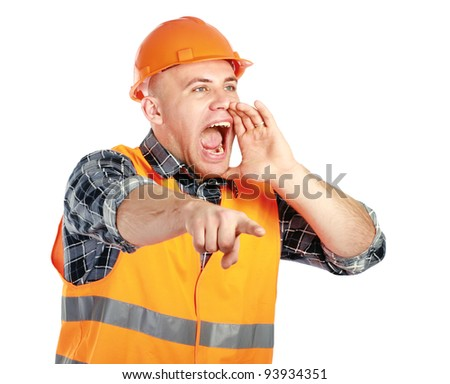 A young worker shouting, isolated on white background - stock photo