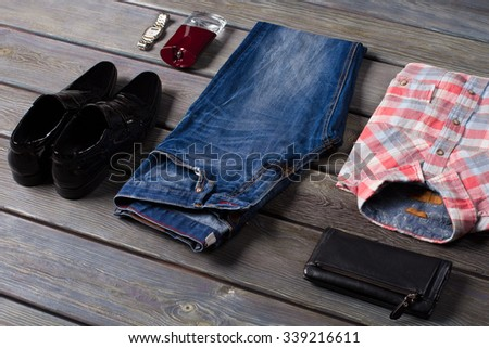 A youth casual wear. Set of men's clothing. - stock photo