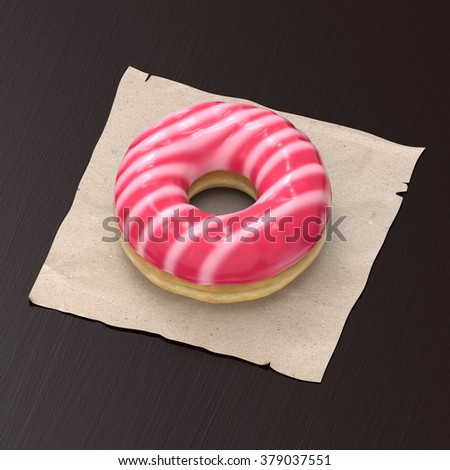 A yummy donut with white and pink glazing on a paper napkin and wooden background