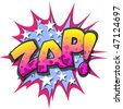 A Zap Comic Book Illustration Isolated on  White Background - stock photo