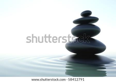 A zen skyscraper in a zen water - stock photo