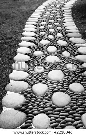 a zen stones background white and black - stock photo