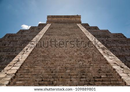 a Ziggurat in Chichen Itza, Yucatan, Mexico - stock photo