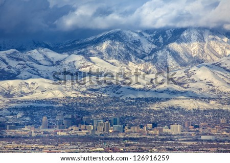 A zoomed in view of downtown Salt Lake City Utah USA  in present day/ Zoomed in Salt Lake City Utah USA