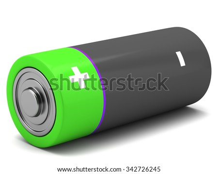 AA size batteries on white background - stock photo